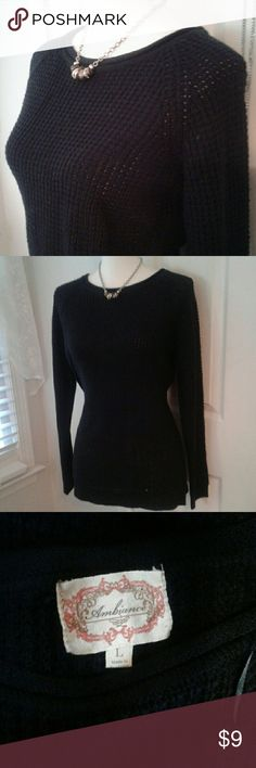"Ambiance black knit crew sweater LG Cozy long sleeve basic knit pullover in good condition. No pilling. Apologizes for my tablet not capturing detail on black garments. 18.5"" across hem, length of raglan sleeve from collar to wrist is 28"" Smoke free home The form is a small size. Ambiance Apparel Sweaters Crew & Scoop Necks"