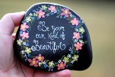 Hand painted garden decor - painted rock flowers - garden rock inspirational quote - home decor - painted flower stone - flower rock by PetRocksbyTheresa on Etsy https://www.etsy.com/listing/514107743/hand-painted-garden-decor-painted-rock