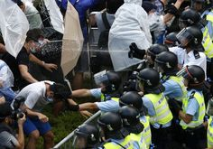 Protesters have attacked the parlements building in Hong Kong