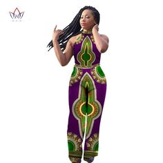 eb7a915dc6db0 Dashiki African Print Sleeveless Long Pants Style Plus Size Clothing One  Piece Fashion Pants