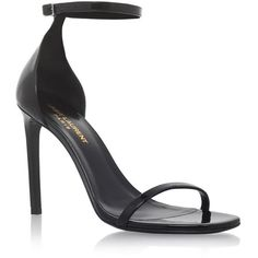 Saint Laurent Jane Ankle Strap Sandals 105 found on Polyvore featuring shoes, sandals, heels, patent leather sandals, ankle tie shoes, ankle strap sandals, heeled sandals and party shoes