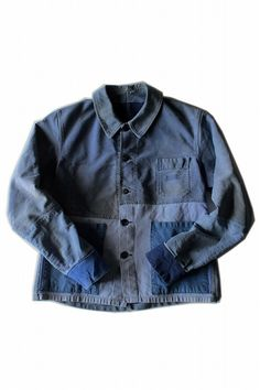 French vintage patched work jacket/moleskin cotton/faded blue/hand repaired/hand stitched/remake/262