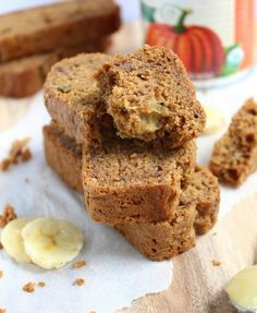 Spiced Apple, Banana and Pumpkin Bread {Vegan}.  Just made this for my kids' school-- pretty low in sugar, and allergy friendly (nut free, egg free, dairy free).  House smells great!