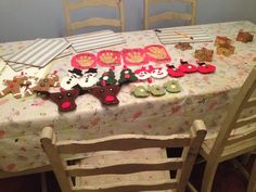Hanging Christmas decs & the childrens handprints in air drying clay.