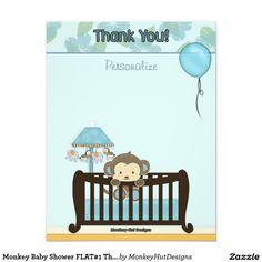 Monkey Baby Shower FLAT#1 Thank You BLUE Card