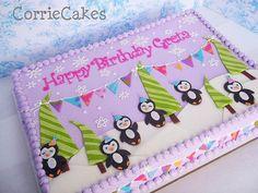 Girly Penguins Part 2 sheet, iced in buttercream with MMF decorations Penguin Birthday, Birthday Cake Girls, Birthday Fun, 1st Birthday Parties, Penguin Party, Birthday Cakes, Birthday Ideas, Winter Birthday, Buttercream Fondant