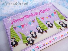 Penguin birthday cake! Absolutely love!! Great colors and cute penguins. Check out Corrie Cakes on FB!