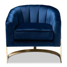 Baxton Studio Tomasso Dark Royal Blue and Gold Fabric Accent Chair Blue Velvet Fabric, Gold Fabric, Blue And Gold Living Room, Blue Living Room Decor, Royal Blue Bedrooms, Velvet Lounge, Diy Home, Home Decor, Royal Blue And Gold