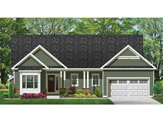 Home Plan HOMEPW76918 is a gorgeous 1601 sq ft, 1 story, 3 bedroom, 2 bathroom plan influenced by  Ranch  style architecture.