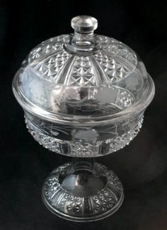 """EAPG Etched """"SIX PANEL FINE CUT"""" pattern covered compote made by Dalzell, Gilmore and Leighton, circa 1890, 8.25""""D x 12.75""""H"""