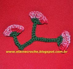 Elaine Croche: Raminho com botão em Crochê - Vídeo Aula Crochê