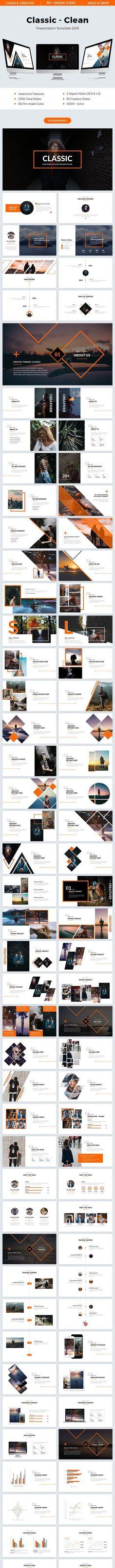 Classic - Clean Powerpoint Template 2018 Creative Presentation by Light_slides. Presentation Design Template, Business Presentation, Creative Powerpoint Templates, Powerpoint Design, Cool Themes, Vector Shapes, Keynote Template, Graphic Design, Design Ppt