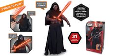 STAR WARS KLYO REN ANIMATRONIC INTERACTIVE FIGURE: This deluxe animatronic figure is produced based on digital data from Star Wars: The Force Awakens. With 31 points of articulation, this villain is easy to pose. Hold Kylo Ren's Lightsaber™ and wave it for incredible real time interaction with light and stereo battle sound effects! Raise his left arm and watch him come alive with voice and animated actions.