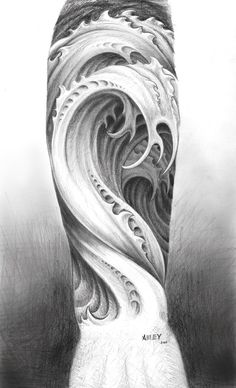 """""""Water tattoo design""""  by ~M-Amey -   Traditional Art / Drawings / Surreal"""