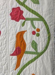 Detail, Appliqué quilt four-block quilt, Lot 377, Hyde Park Country Auctions, Live Auctioneers
