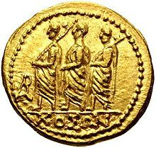 Gold coin from Dacia, minted by Coson, depicting a consul and two lictors