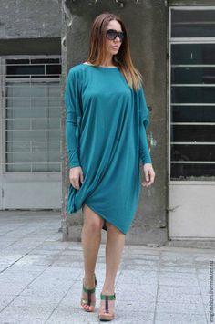 Купить Туника Мечта - тёмно-бирюзовый, туника, туника из хлопка, кофточка, платье, весенняя мода