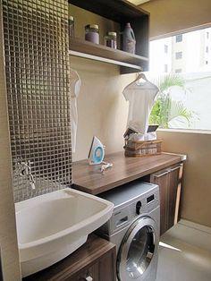 Construindo Minha Casa Clean: 35 Ideias de Lavanderias e Áreas de Serviço Decoradas! Laundry Decor, Laundry Room Design, Small Laundry, Laundry Area, Small Apartments, My Dream Home, Living Room Designs, Sweet Home, New Homes