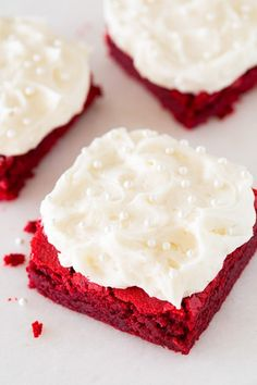 Red Velvet Brownies with Fluffy Cream Cheese Frosting - these are incredible!