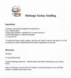Mofongo Turkey Stuffing