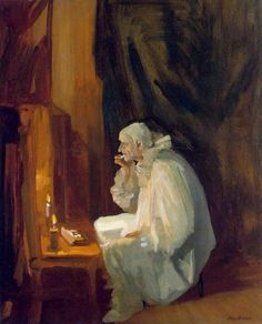 """artmastered: """" John French Sloan, Clown Making Up, 1910 """" Greg Olsen, American Realism, American Artists, Spring Rain, William Glackens, Statues, Clown Images, Clown Paintings, Canvas Paintings"""