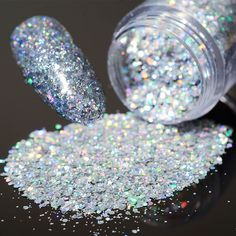 10g Holo Laser Glitters Nail Sequins Shining Silver Hexagon Nail Dust Tips Manicure Nail Art Decorations