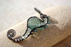 AQUAMARINE seahorse wire wrapped seaglass by PalmerasDesign, $165.00