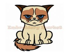 grumpy cat embroidery design 2 sizes Instant Download