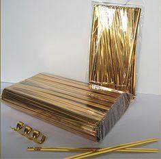2000 Metallic Gold Twist Ties 4 Inch Long-Free shipping
