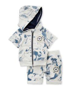 True Religion (Infant Boys) Two-Piece Tie-Dye Hoodie & Shorts Set