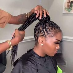 Braided Cornrow Hairstyles, Feed In Braids Hairstyles, Two Cornrow Braids, Box Braids Bun, Feed In Braids Ponytail, Cornrow Ponytail, Bun Hairstyle, African Hairstyles, Protective Hairstyles