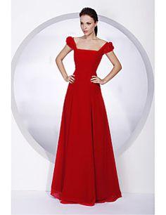 Lanting+Bride®+Floor-length+Chiffon+Bridesmaid+Dress+A-line+/+Princess+Off-the-shoulder+/+Square+Plus+Size+/+Petite+with+–+GBP+£+48.99