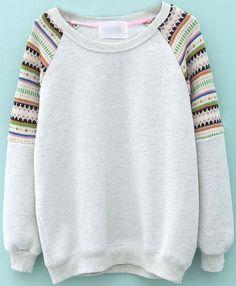 Light Grey Contrast Striped Knit Long Sleeve Sweatshirt EUR€22.66