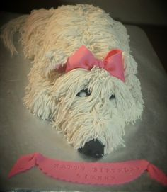 TUTORIAL - This is a short pictorial on how I made a dog shaped cake. This dog is a shaggy Westie. I have added photo that walk you through how to make this dog out of ...