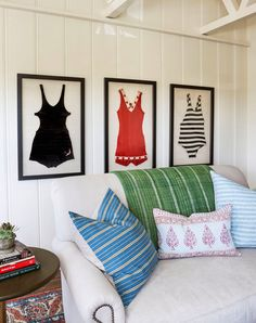 Perfect wall decor for a beach cottage - framed vintage bathing suits. Beach Cottage Style, Beach Cottage Decor, Coastal Cottage, Coastal Style, Cottage Ideas, Cottage Living, Coastal Wall Decor, Cottage Plan, Vintage Bathing Suits