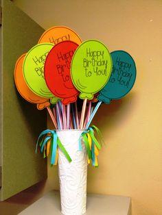 Birthday Balloons with Pixi Sticks!  Love it! :)