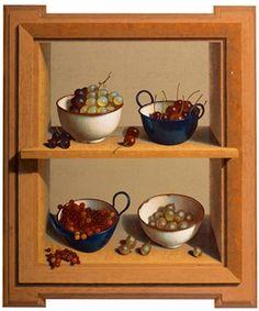 Henri Bol, Still life with 4 enamelled bowls with fruits (trompe-l'oeil), 1995, art - realism - cherries - grapes - berries - enamel