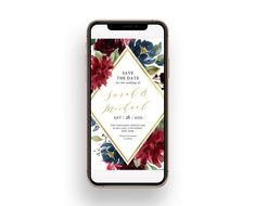 Burgundy Save the Date card with flowers and golden frame. Electronic Wedding Invitations, Floral Wedding Invitations, Wedding Invitation Templates, Save The Date Invitations, Digital Invitations, Save The Date Cards, Electronic Save The Date, Save The Date Templates, Blush And Gold