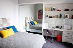 mirror in the bedroom is bad for good energy.  The soft headboard is great; the bed needs a footboard or bench.