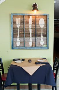 Pallet wood, painted silverware.