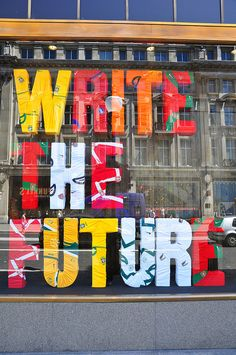 Nike Write The Future ad at the Niketown store on London's Tottenham Court Road, which is made from the shirts of the teams they make the kits for. Lettering, Typography Design, Retail Windows, Store Windows, Environmental Graphics, Environmental Design, Display Design, Store Design, Layout Design