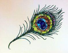 Peacock Feather Button Art Button & Swarovski Art by Belle Papier
