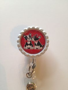 Puppy Love Retractable Id Badge Reel, White Bottle Cap Id Holder, Id Reel Name Badge Holder, Glitter Badge Reel
