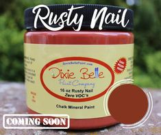 Dixie Belle Rusty Nail Chalk PaintRusty Nail is a burnt orange. This strong color radiates warmth and will add some welcoming energy to your home.In addition to the rusty patina farmhouse look, this fresh color pairs well with modern industrial . Rust Color Paint, Metallic Paint, Paint Colors, Chalk Paint Projects, Chalk Paint Furniture, Annie Sloan, Orange Painted Furniture, Colored Chalk, Paint Companies