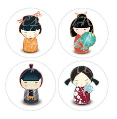 digital collage sheets for paper crafts,  24 Kokeshi dolls on a white background, 4 inch circles  -- no. 234