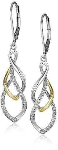 Sterling Silver and 14K Yellow Tear Drop Design Diamond Earrings  http://stylexotic.com/sterling-silver-and-14k-yellow-tear-drop-design-diamond-earrings/