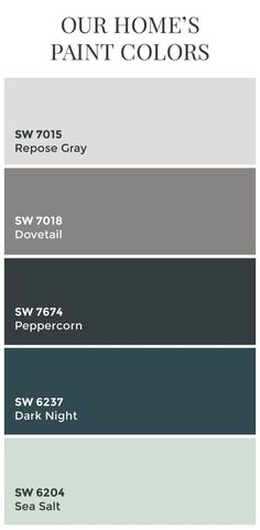 Paint Colors // Sherwin Williams Dovetail // Sherwin Williams Peppercorn // Sherwin Williams Dark Night // Sherwin Williams Sea Salt // Color Schemes // Home Color Ideas by Terry James Shepard