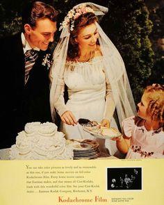 1940 Ad Kodachrome Film Bride Dress Groom Wedding Cake - Original Print Ad for Like the 1940 Ad Kodachrome Film Bride Dress Groom Wedding Cake - Original Print Ad? 1940s Wedding, Vintage Wedding Photos, Vintage Bridal, Wedding Pics, Wedding Dresses, Vintage Weddings, Vintage Ads, Wedding Groom, Wedding Cake