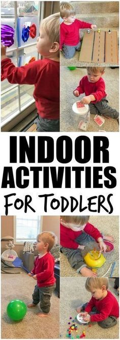These Indoor Activities For Toddlers are perfect for winter or a rainy spring or summer day and many will help develop fine motor skills. Plus tips to make them harder for pre-school aged kids. #kidscrafts