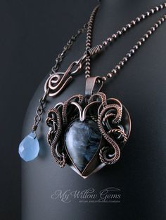 Elven inspired Blue Pietersite Heart Necklace  by MyWillowGems
